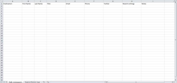 A sample media list spreadsheet ready to be populated with information